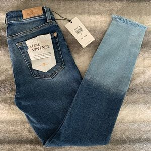 7 for All Mankind Cut Hem Ankle Skinny Jeans
